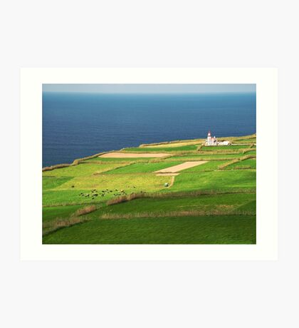 Pastures and lighthouse Art Print