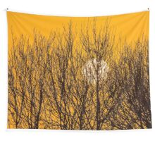Winter sunrise behind the trees Wall Tapestry