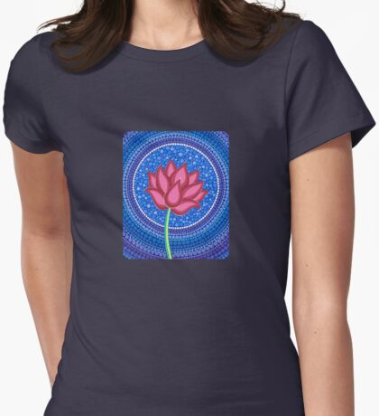 Splendid Calm Lotus Flower Womens Fitted T-Shirt