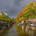 Amsterdam canal with autumn accent. by Birgit Van den Broeck