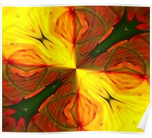 Bold Red, Green and Gold Abstract Kaleidoscope Poster