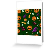 Halloween seamless pattern with pumpkins, witches hats and brooms Greeting Card