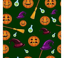 Halloween seamless pattern with pumpkins, witches hats and brooms Photographic Print