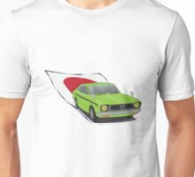 Green 70s Subaru DL (Leone) illustration, with the Japanese Flag Behind  Unisex T-Shirt