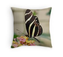 Zebra Longwing Butterfly on Lantana Throw Pillow