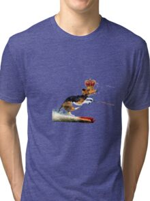 Dog With Crown Water Skiing Tri-blend T-Shirt