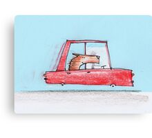 Happy dog is on a drive, which makes him even happier Canvas Print