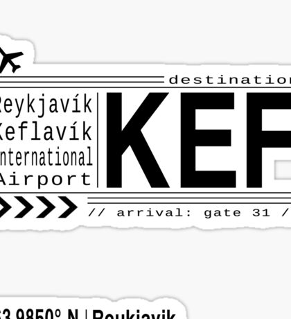 KEF Reyjkjavik Keflavik International Airport, Iceland airport call letters Sticker