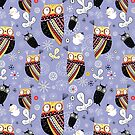 pattern of funny owls  by Tanor