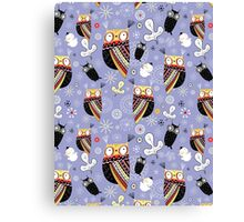 pattern of funny owls  Canvas Print