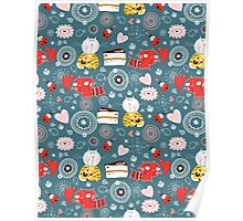pattern of funny kittens  Poster