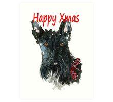Scottie Dog 'Happy Xmas' Art Print