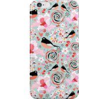 Flower texture with birds in love iPhone Case/Skin