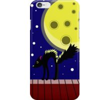 Halloween card with ghosts and a frightened cat. Moonlit Night. On the roof of the house. Starry sky. iPhone Case/Skin
