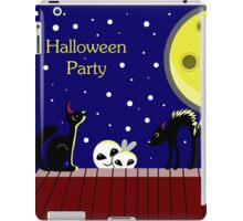 Halloween card with ghosts and a frightened cat. Moonlit Night. On the roof of the house. Starry sky. iPad Case/Skin
