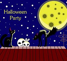 Halloween card with ghosts and a frightened cat. Moonlit Night. On the roof of the house. Starry sky. by Ann-Julia