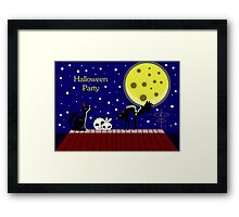 Halloween card with ghosts and a frightened cat. Moonlit Night. On the roof of the house. Starry sky. Framed Print