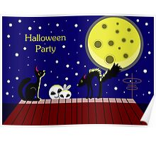 Halloween card with ghosts and a frightened cat. Moonlit Night. On the roof of the house. Starry sky. Poster