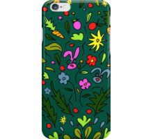 seamless pattern colorful garden with rabbits and carrots, illustration, cute background, color doodle background. Hand draw. iPhone Case/Skin