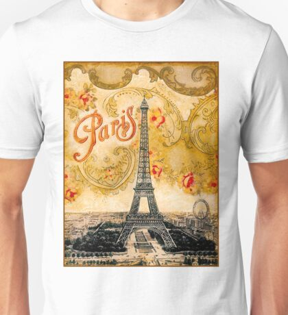 EIFFEL TOWER; Vintage Ornamental Paris Print Unisex T-Shirt