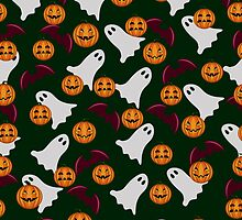 seamless pattern ghost and pumpkin Halloween, color doodle background, illustration by Ann-Julia