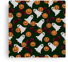 seamless pattern ghost and pumpkin Halloween, color doodle background, illustration Canvas Print