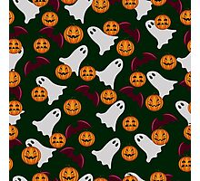 seamless pattern ghost and pumpkin Halloween, color doodle background, illustration Photographic Print