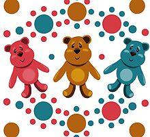 seamless pattern with children's teddy bears, illustration for children by Ann-Julia