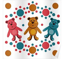 seamless pattern with children's teddy bears, illustration for children Poster
