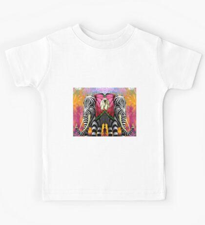 ELEPHANT and MONKEY; Ornamental Decorative Print Kids Tee