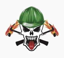 Skull with Green Hard Hat and Flaming Hammers Kids Clothes