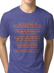 Coach Orgeron LSU Tigers Days of the Week Tri-blend T-Shirt