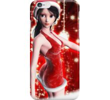 Christmas background with snowflakes and girl iPhone Case/Skin