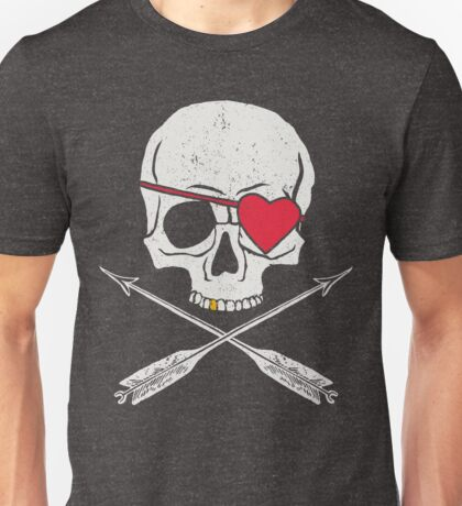 Valentines Day Skull with Heart Patch Unisex T-Shirt