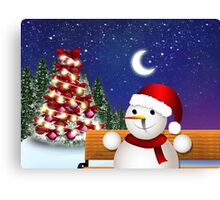 Christmas card with snowman Canvas Print