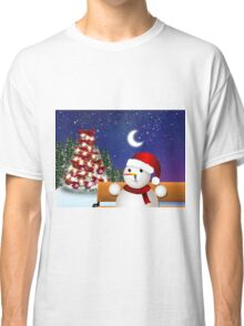 Christmas card with snowman Classic T-Shirt