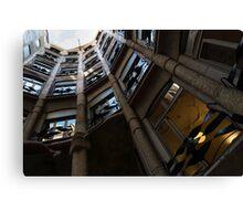 La Pedrera Courtyard – Antoni Gaudi's Masterpiece in Barcelona, Spain Canvas Print