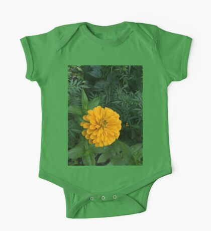 Yellow Zinnia Flower and Green Foliage One Piece - Short Sleeve