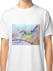 Watercolor bluetit in spring, blue bird Classic T-Shirt
