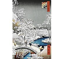 Japanese Bridge in the Snow Photographic Print