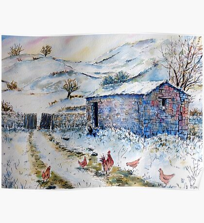 Watercolor painting Snow Barn and Chickens  Poster