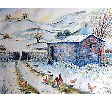 Watercolor painting Snow Barn and Chickens  Photographic Print