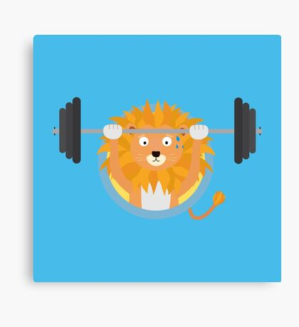 Muscle Lion with weights Canvas Print