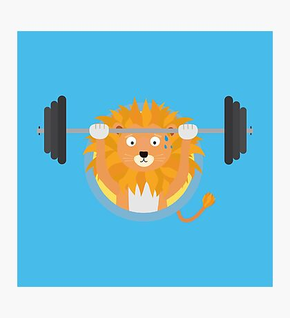 Muscle Lion with weights Photographic Print