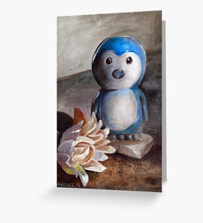 Penguin and Flower Greeting Card