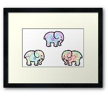 Tie Dye Cute Elephant Pack Framed Print
