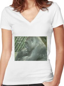 You are not allowed to ape us. Women's Fitted V-Neck T-Shirt