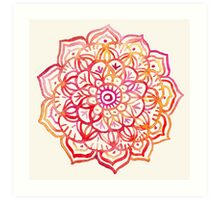 Watercolor Medallion in Sunset Colors Art Print