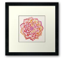 Watercolor Medallion in Sunset Colors Framed Print