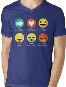 I Love Volleyball Graphic Tee Emoji Emoticon Shirt Mens V-Neck T-Shirt